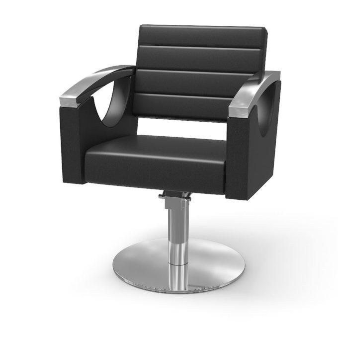 siège de coiffure avec grand dossier, large, pied rond finitions métal