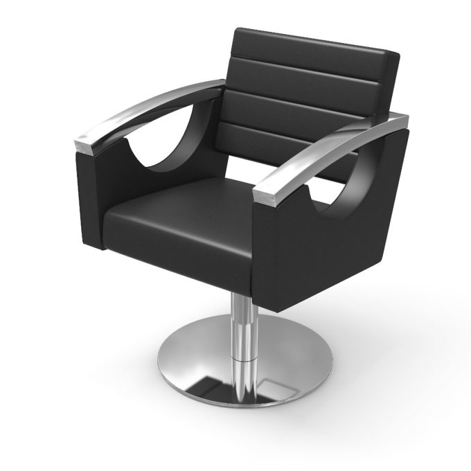 chaise de coiffure avec pied rond brillant et accoudoir chromé
