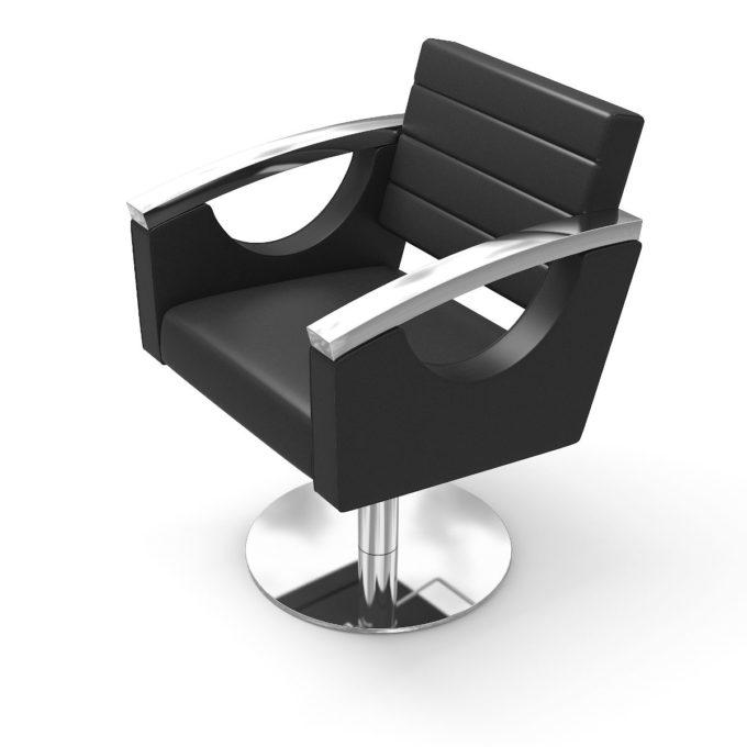 fauteuil de coiffure original, noir et chromé avec pied rond