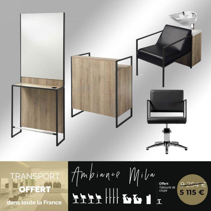 Ensemble de mobilier de coiffure économique avec finitions en bois naturel et métal