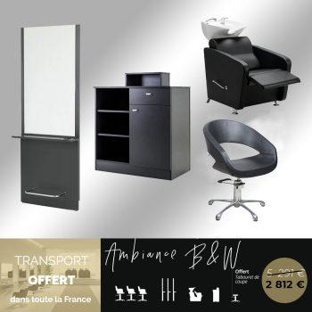 pack salon de coiffure complet meubles noirs, fauteuils, coiffeuses, bacs, caisse
