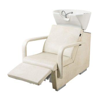 Bac à shampoing couleur crème avec repose jambes et air massage électrique, vasque blanche et peu spacieux