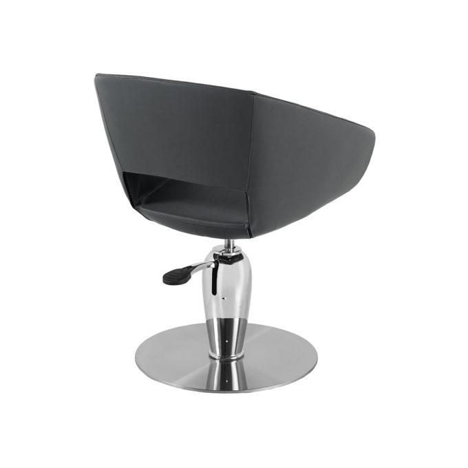 fauteuil de coiffeur pied rond métal et forme arrondie