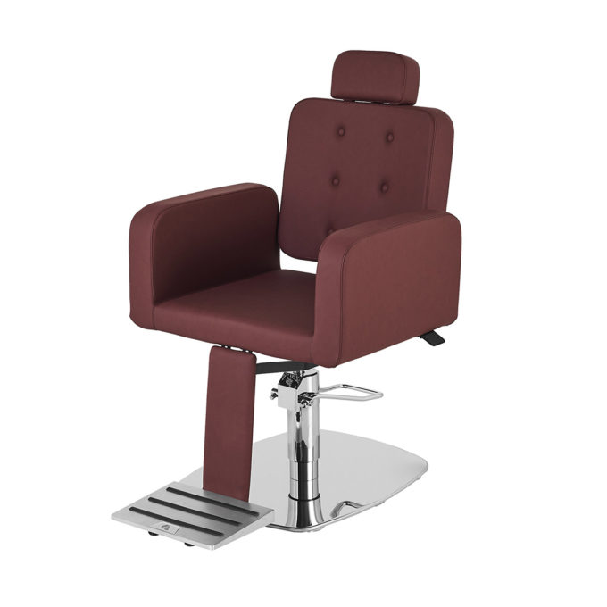 Fauteuil de barbier et coiffure avec appuie tête réglable, repose pieds et design épuré et moderne couleur bordeaux