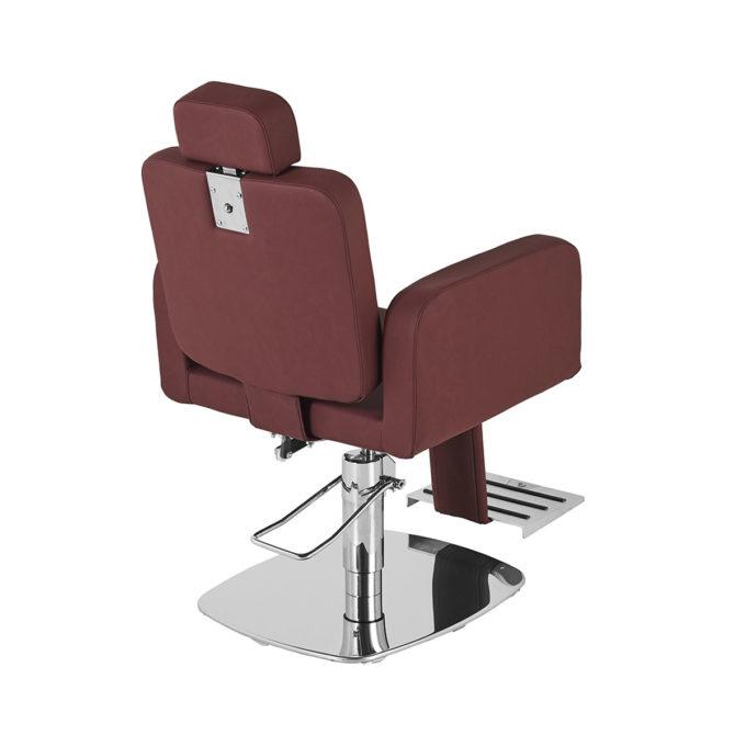 fauteuil de barbier pied carré brillant avec appuie-tête extensible et repose pieds inclinable