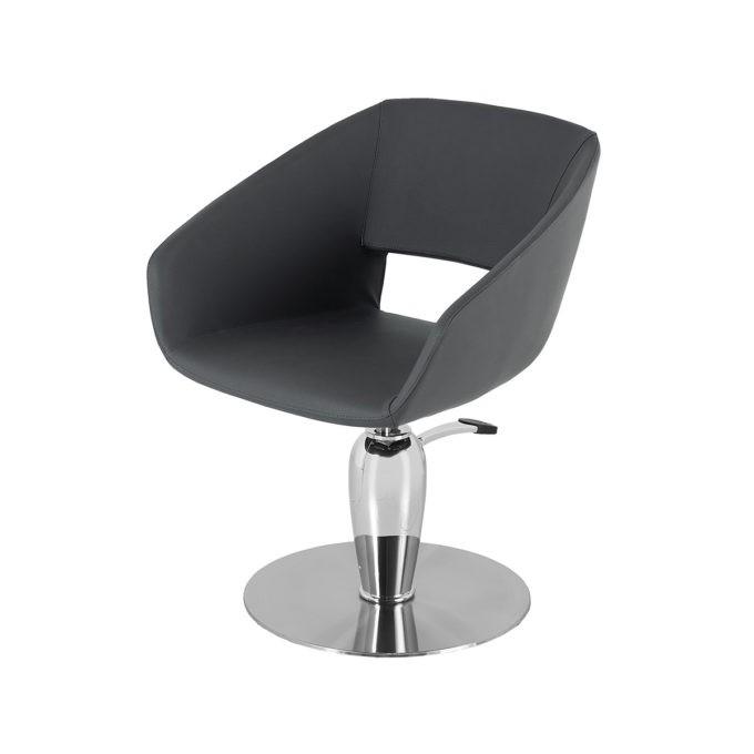 Chaise de coiffure arrondie monobloc en skai noir avec pied en métal brillant rond et pompe de réglage en hauteur