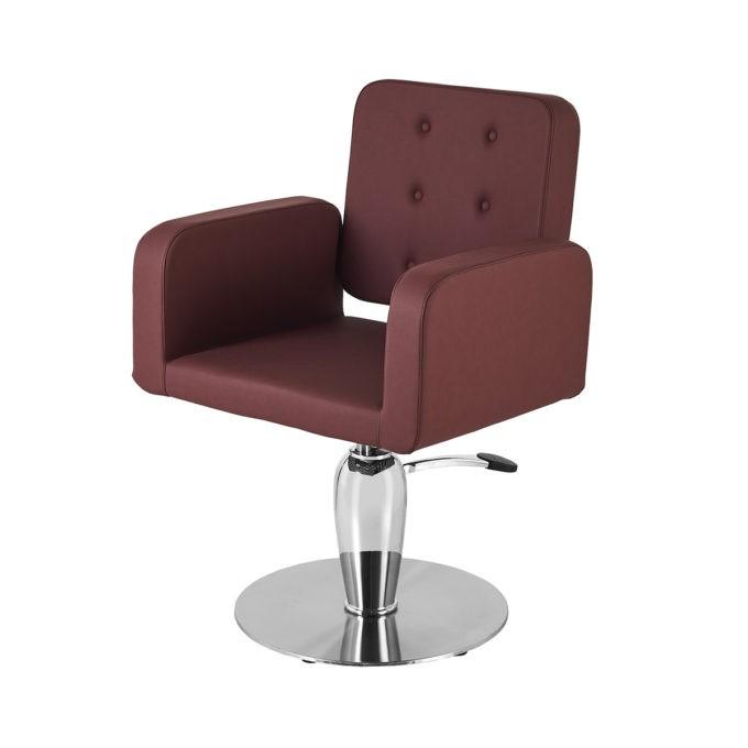 Siège de coiffeur avec pied brillant rond et assise large bordeaux et confortable en mousse haute densité