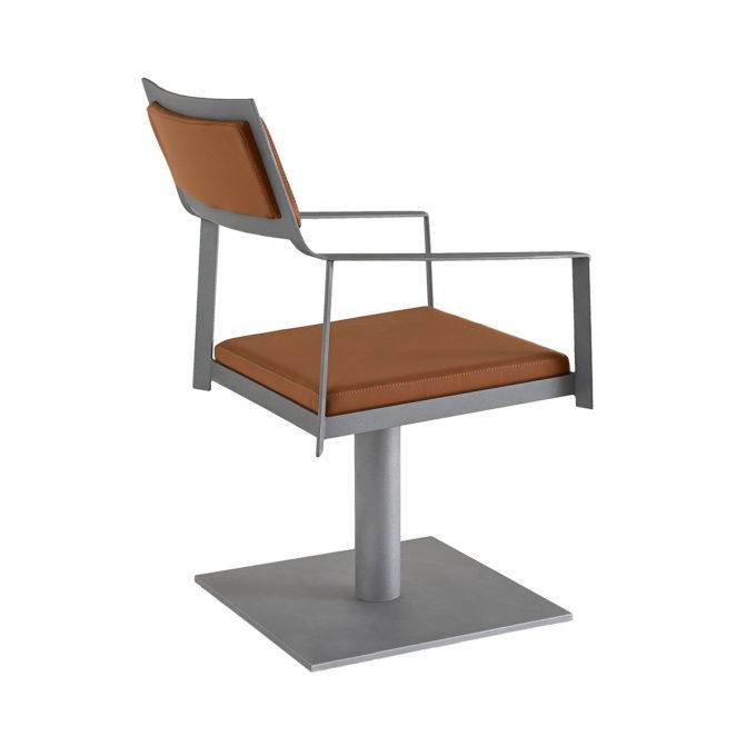 chaise de coiffure lupe avec dosser et assise en mousse et skai marron