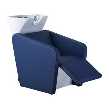 Bac à shampoing avec évier en céramique repose jambes électrique rembourré et revêtement en similicuir bleu