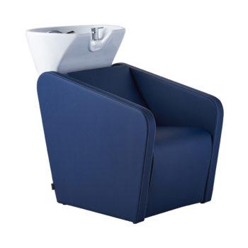 Bac à shampoing bleu rembourré et tapissé en pvc avec évier en céramique