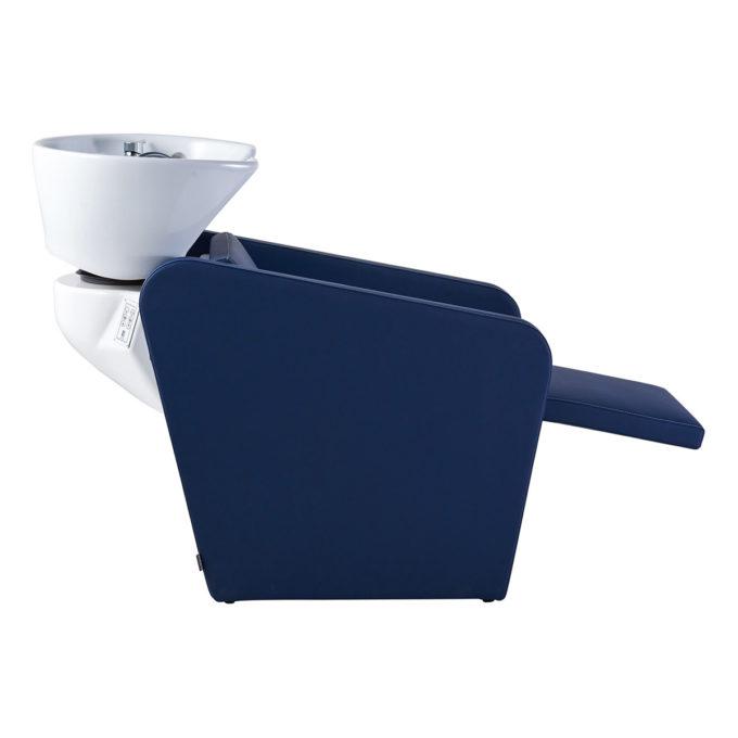 bac de lavage bleu avec repose jambes