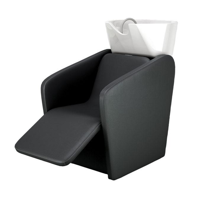 bac à shampoing petit avec repose jambes confortable noir