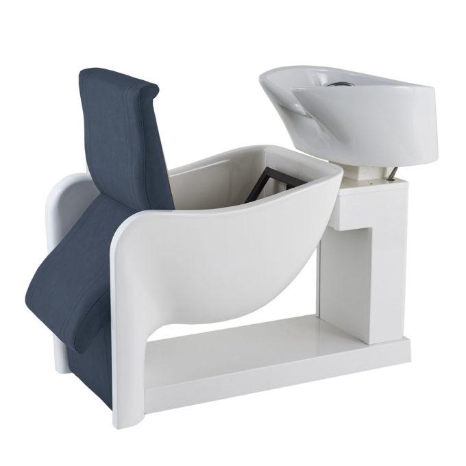 Bac à shampoing avec siège inclinable pour nettoyage facile fibre de verre blanche