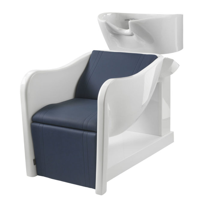 Bac à shampoing blanc avec siège rembourré en pvc bleu résistant, évier blanc en céramique