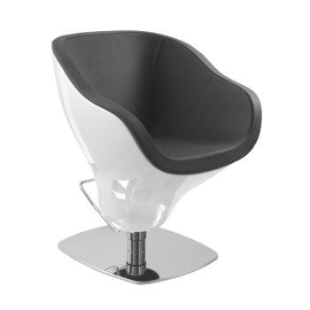 Fauteuil de coiffeur blanc laqué avec siège en similicuir et pied carré chromé