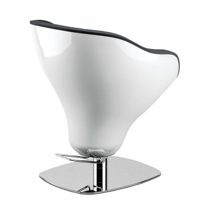 fauteuil style seventies blanc laqué et grand pied carré