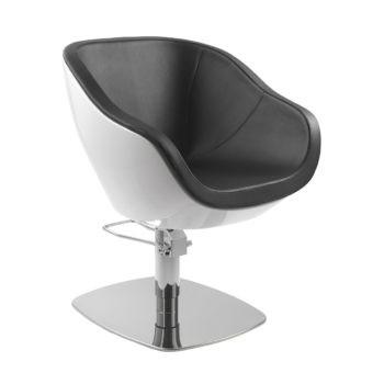 Siège de coiffure rond en fibre de verre blanc et assise en mousse et pvc noir, pied carré en métal brillant