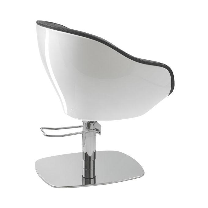 Fauteuil de coiffure en fibre de verre blanc et pied en métal brillant