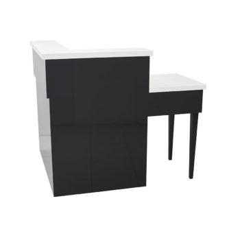 Meuble caisse angle, bi-color noir brillant et blanc laqué forme d'angle avec nombreux rangements adapté pour les PMR