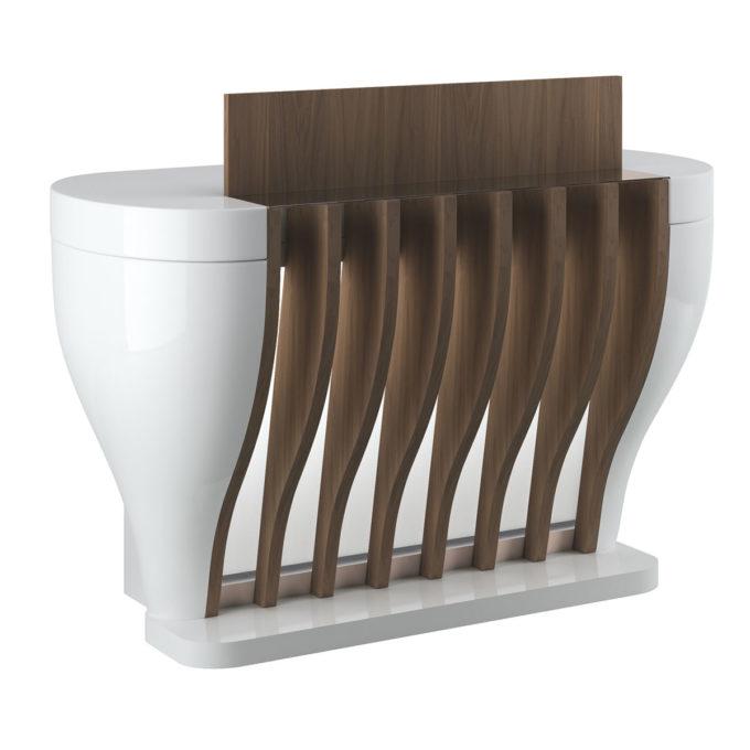Réception caisse formes rondes en bois laqué blanc et finitions bois stratifié, éclairage LED intégré