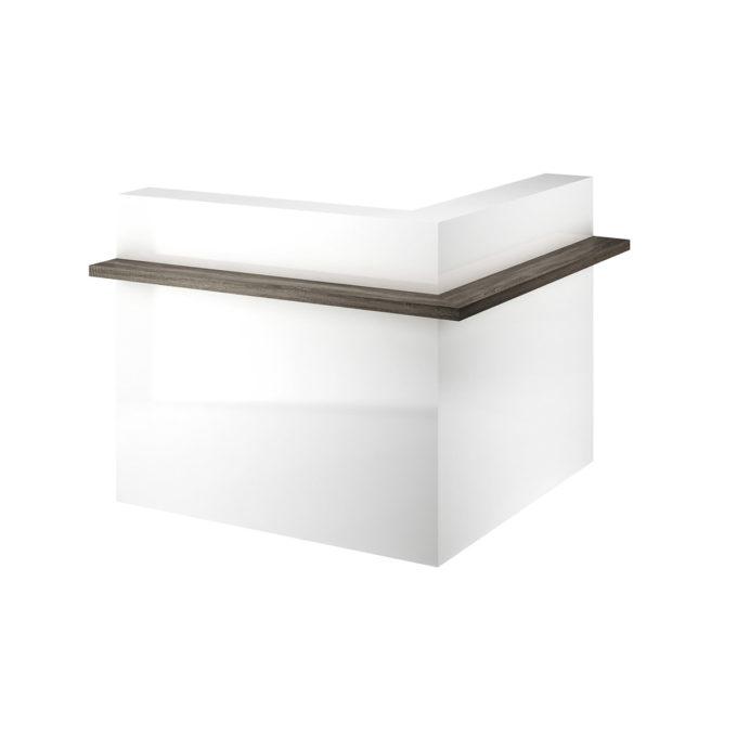 Meuble caisse d'angle avec rangements et finitions en bois laqué blanc et naturel avec éclairage LED