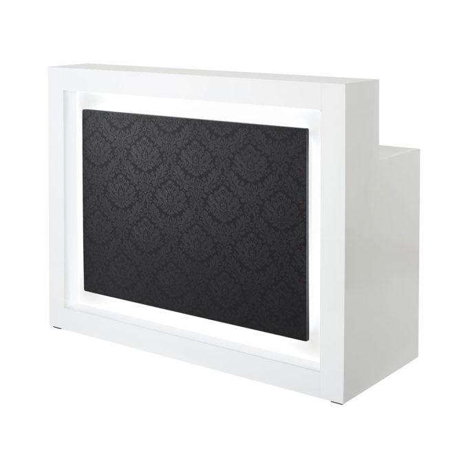 Meuble caisse en stratifié blanc avec éclairage intégré et panneau frontale en pvc noir décoré