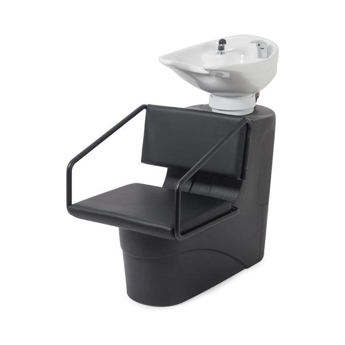 Bac à shampoing structure en polyéthylène noir avec siège en skai et accoudoirs en métal noir mate