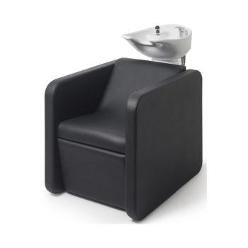 Bac à shampoing économique avec repose jambes électrique et assise confortable en mousse et skai noir