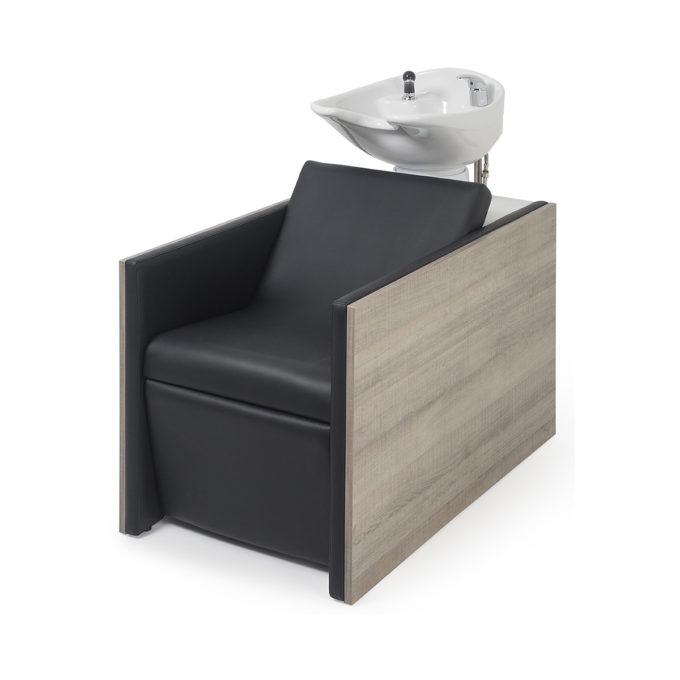 Bac à shampoing de salon de coiffure en bois stratifié et assise en skai