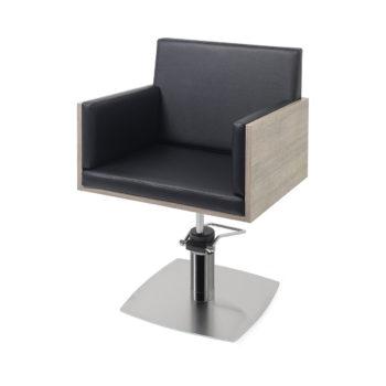 Siège de coiffeur en bois stratifié et skai noir, avec pied en métal brillant et pompe hydraulique