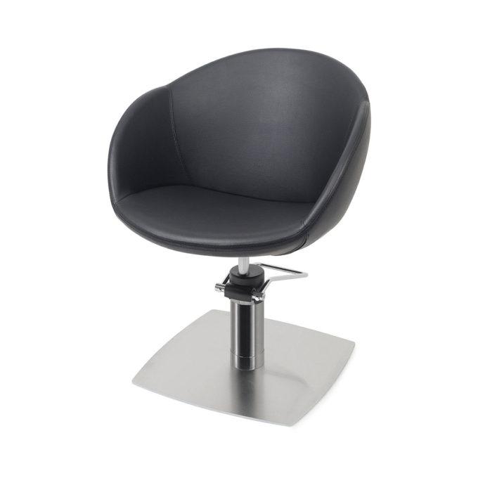Chaise de coiffage pied carré plat métal avec dossier rond en similicuir noir