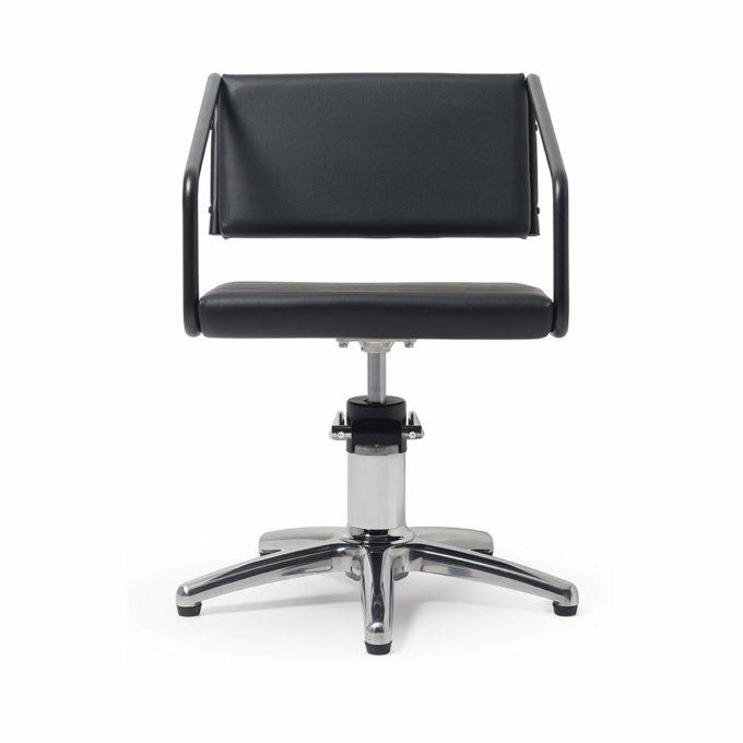 Chaise de coiffure tube en métal noir, pied étoile, design moderne
