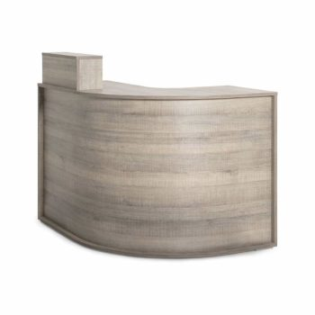 Meuble caisse arrondis en stratifié effet bois avec rangements
