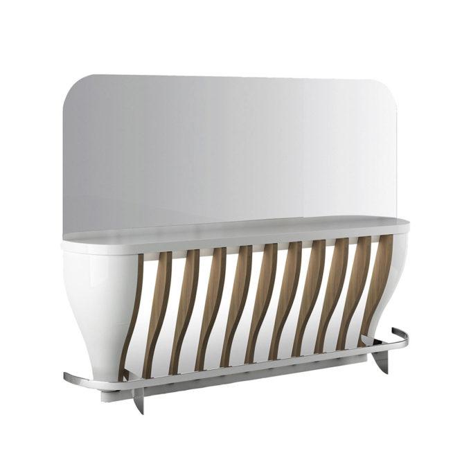 Poste de coiffage blac laqué avec finitions en bois effet naturel grand miroir et repose pieds métal