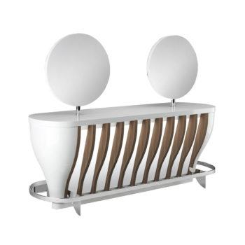 Meuble de coiffure 4 places avec miroirs ronds, finitions laqué et bois stratifié avec repose-pieds en acier brillant