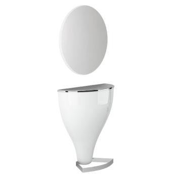 Poste de coiffeur grand miroir rond, éclairage LED en option, structure laqué blanc avec pieds en métal brillant