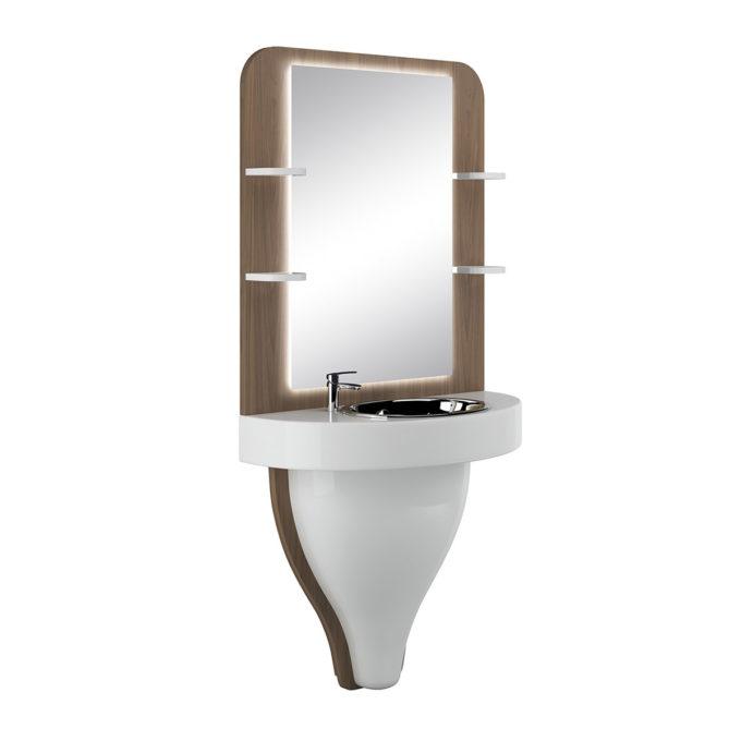 Petite coiffeuse de barbier avec structure en laqué blanc et sratifié bois, étagères, évier en inox et miroir lumière led