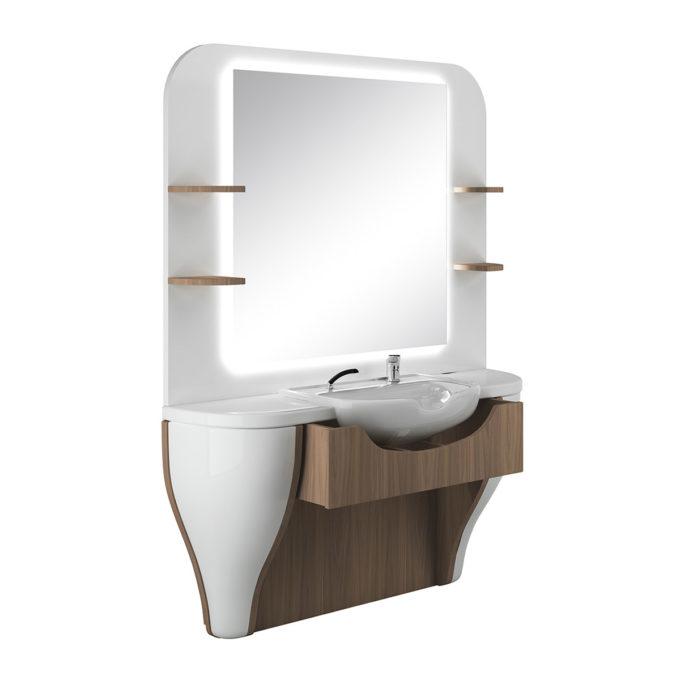Coiffeuse pour barbier large blanc laqué et bois naturel, grand miroir avec led, évier et étagères