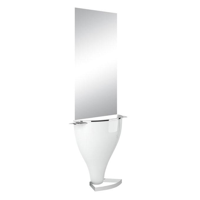 Coiffeuse murale convexe blanc laqué avec repose-pieds en métal et grand miroir argent éclairage led en option