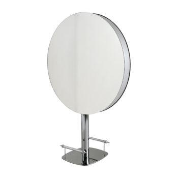 Miroirs ronds 2 places sur pieds et repose pieds en métal brillant argenté