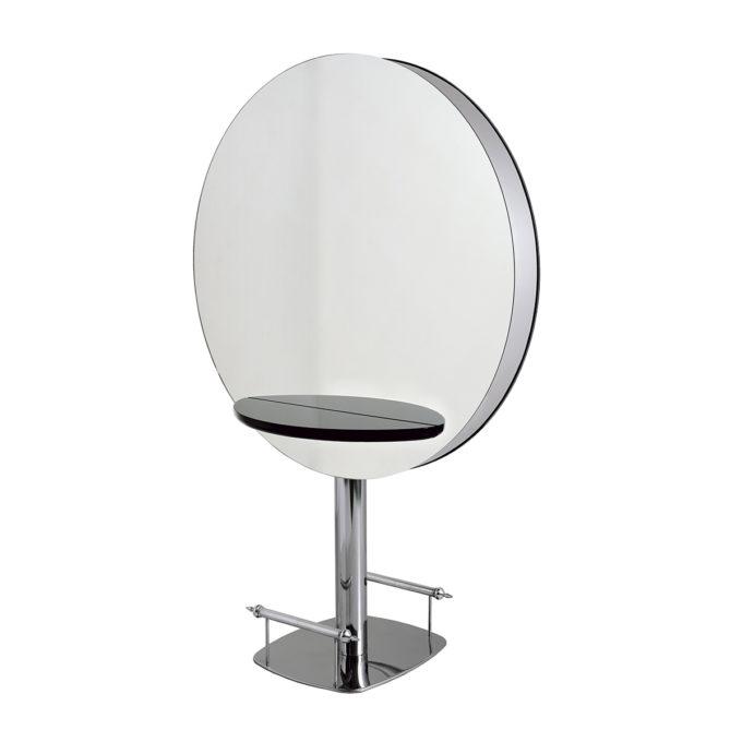 Grand miroir rond de coiffure deux places, avec 2 tablettes en bois laqué, 2 repose pieds sur une structure métallique brillante
