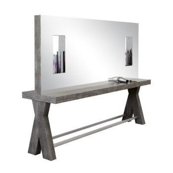 Poste de coiffure 4 places avec structure en bois foncé et niches d'exposition dans le miroir