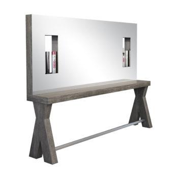 Poste de coiffage 2 places, structure en bois massif et grand miroir avec niches de rangement