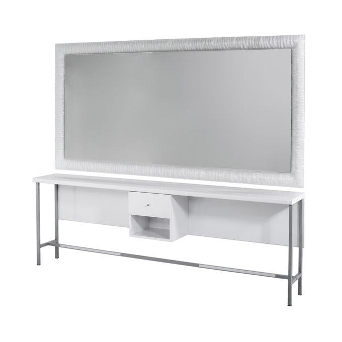 Coiffeuse murale 2 places avec tiroir et étagère centrale, structure en métal, tablette en verre et grand miroir avec contour en verre blanc