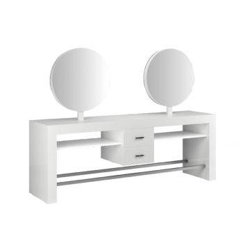Coiffeuse 4 places en îlot avec miroirs ronds sur structure en stratifié blanc et repose-pieds larges en métal, tiroirs de rangement