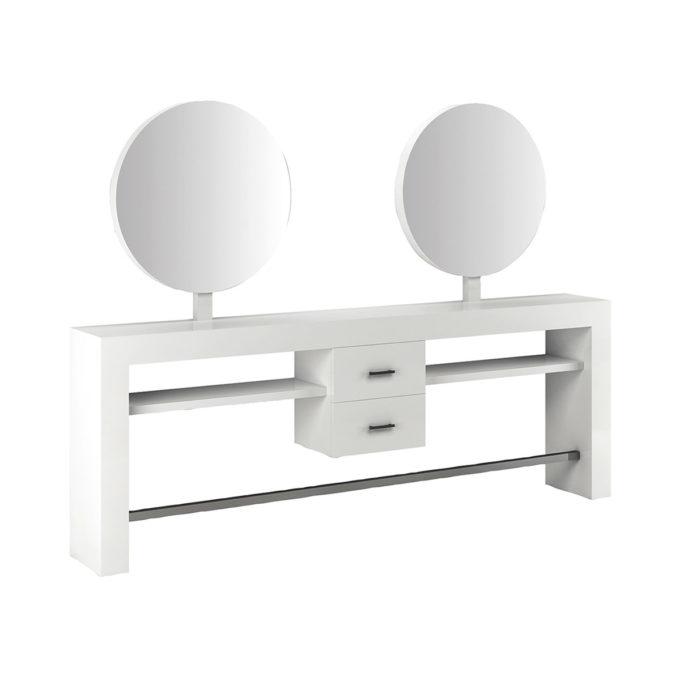 Coiffeuse 2 places miroirs ronds sur structure en bois stratifié blanc avec 2 tiroirs et repose-pieds en acier