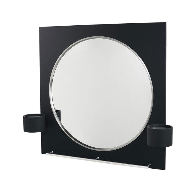 Miroir de coiffeur rond deux places dans cadre carré noir en stratifié avec rangements pour accessoires coiffure et repose-pieds en acier