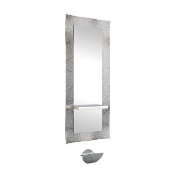 Miroir de coiffeur avec contour en verre fondu argenté, tablette en stratifié et repose pieds en métal brossé