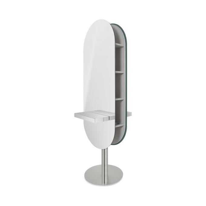 Coiffeuse sur pied rond en métal avec grands miroirs arrondis tablette en inox et étagères latérales