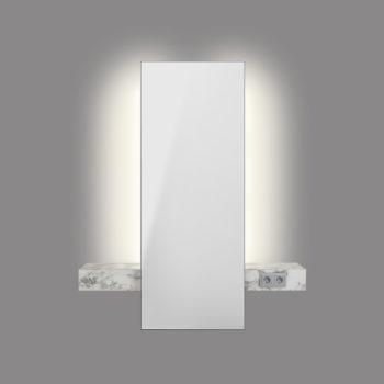 Miroir de coiffeur mural avec éclairage LED et structure en stratifié effet marbre blanc